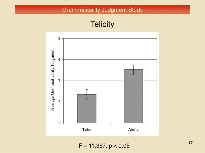 Grammaticality Judgment Study