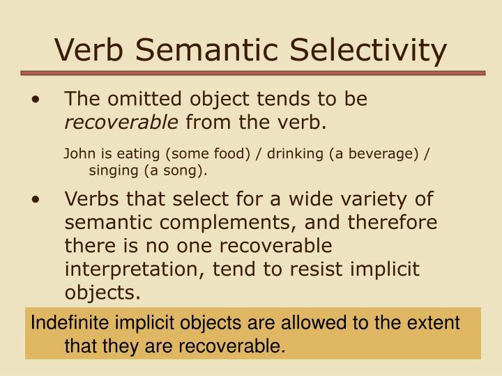 Verb Semantic Selectivity