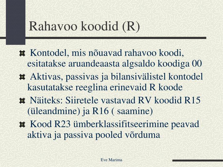 Rahavoo koodid (R)