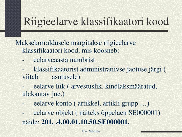 Riigieelarve klassifikaatori kood