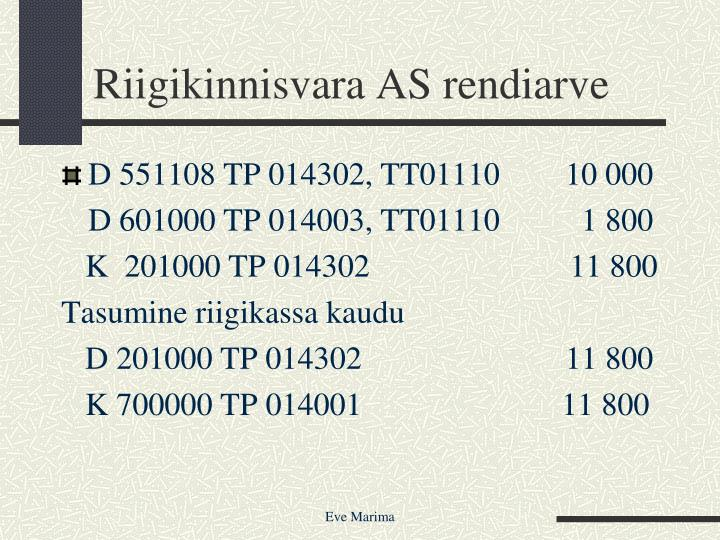 Riigikinnisvara AS rendiarve