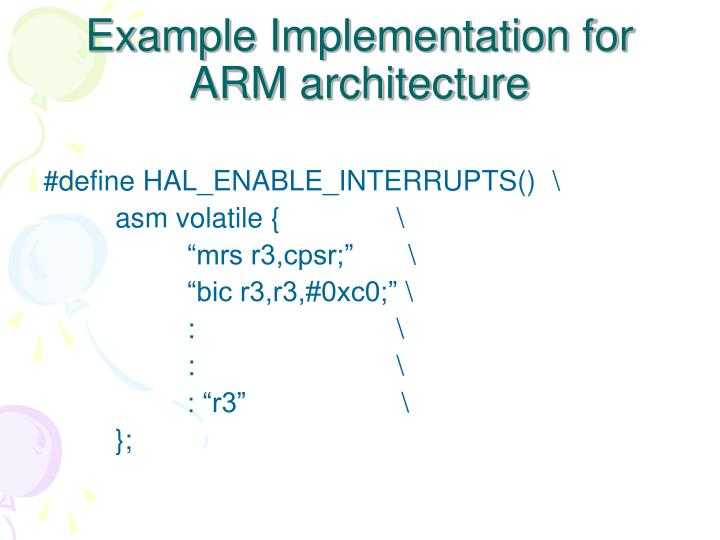 Example Implementation for ARM architecture