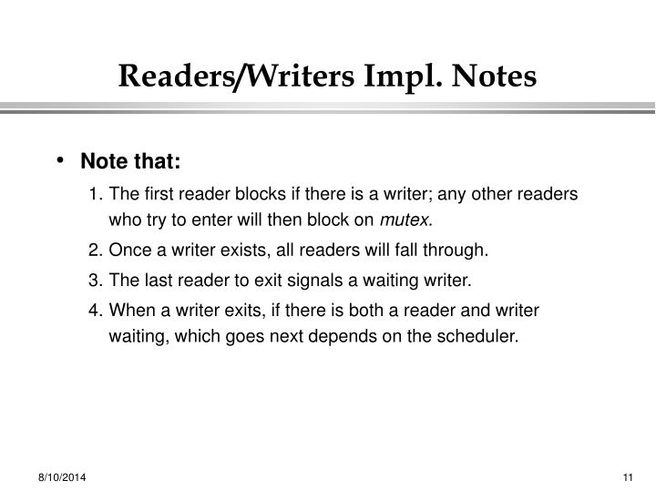 Readers/Writers Impl. Notes