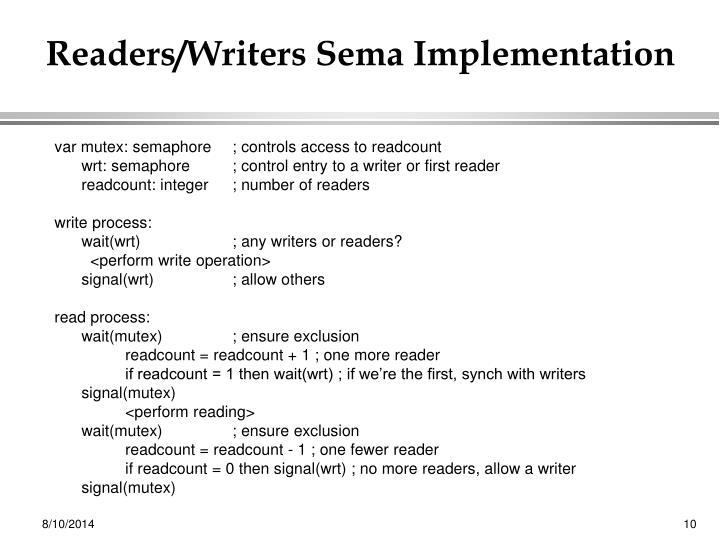 Readers/Writers Sema Implementation