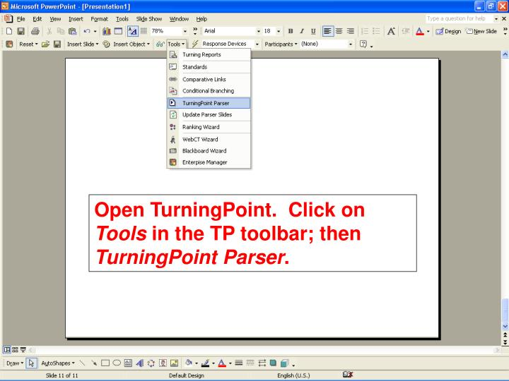 Open TurningPoint.  Click on
