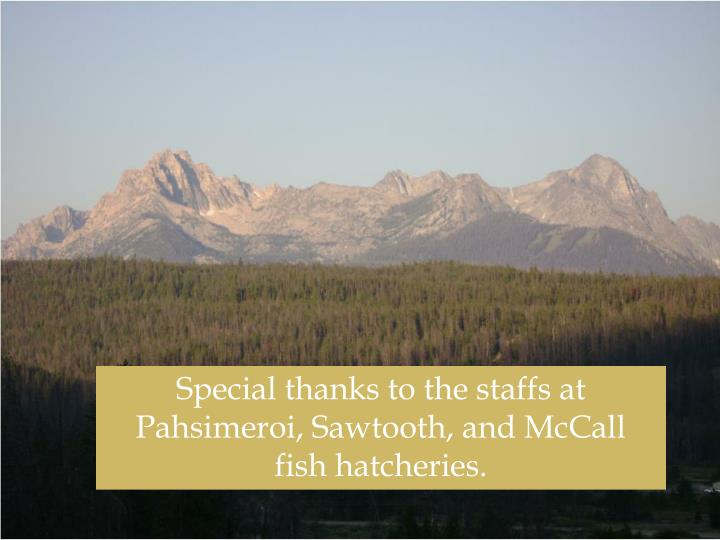 Special thanks to the staffs at Pahsimeroi, Sawtooth, and McCall