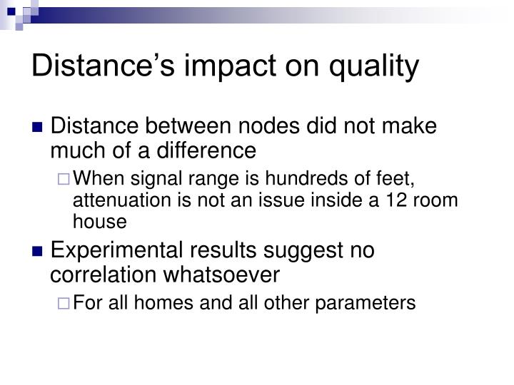 Distance's impact on quality