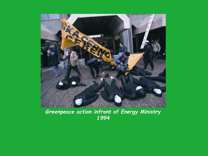 Greenpeace action infront of Energy Ministry 1994