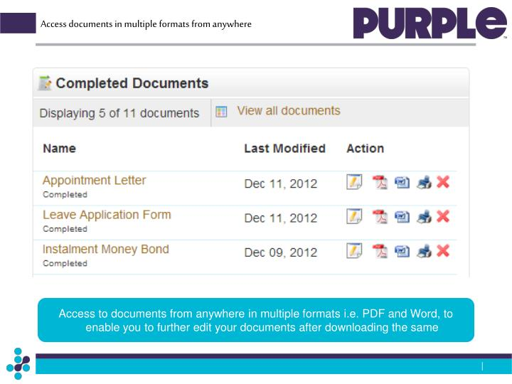 Access documents in multiple formats from anywhere