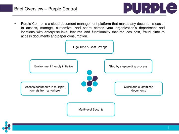 Brief overview purple control
