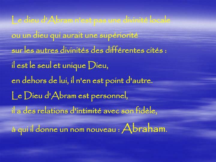 Le dieu d'Abram n'est pas une divinité locale