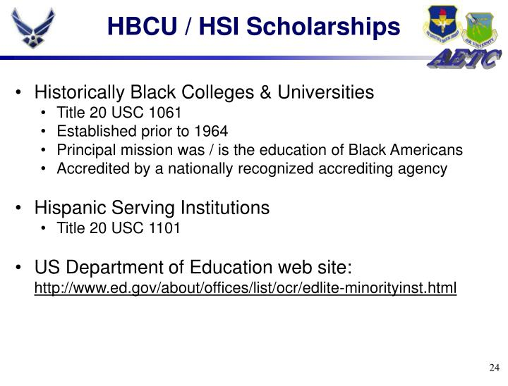 HBCU / HSI Scholarships