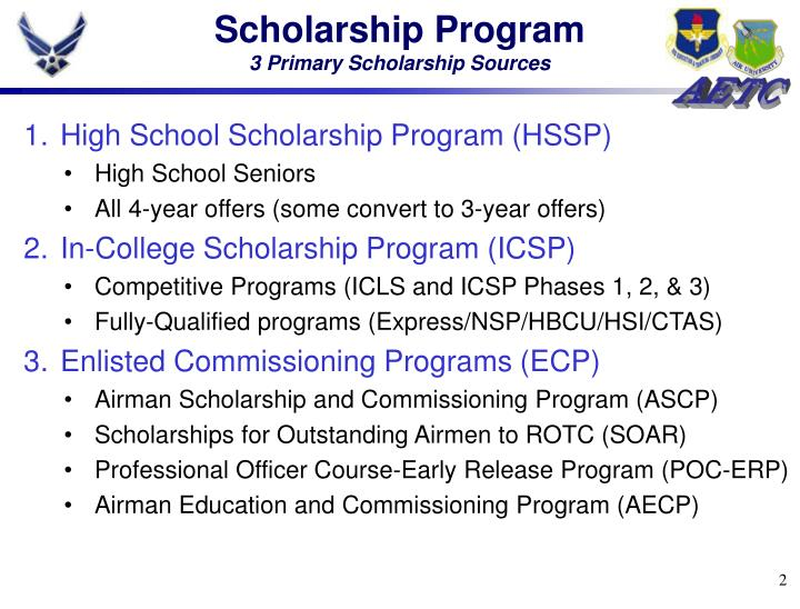 Scholarship program 3 primary scholarship sources