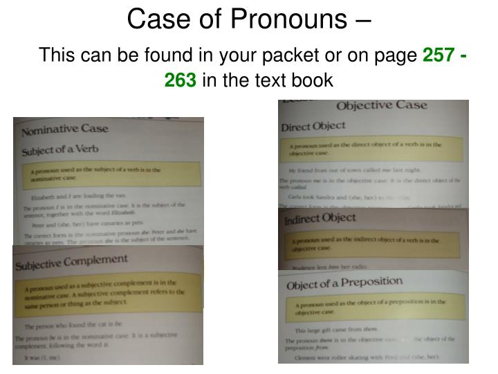 Case of Pronouns –