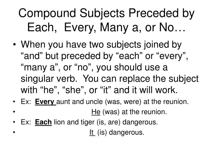 Compound Subjects Preceded by Each,  Every, Many a, or No…