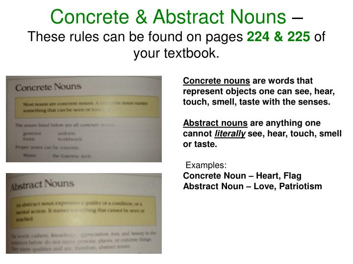 Concrete & Abstract Nouns