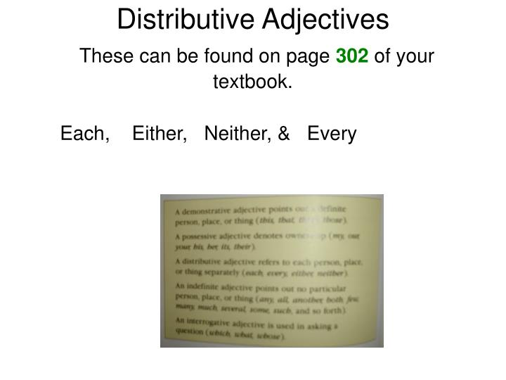 Distributive Adjectives