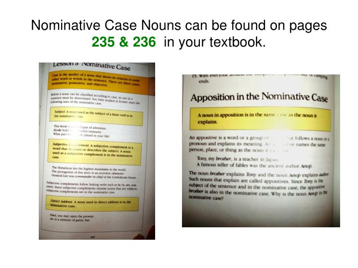 Nominative Case Nouns can be found on pages