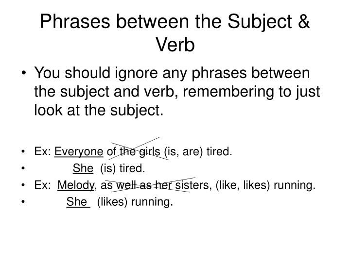 Phrases between the Subject & Verb