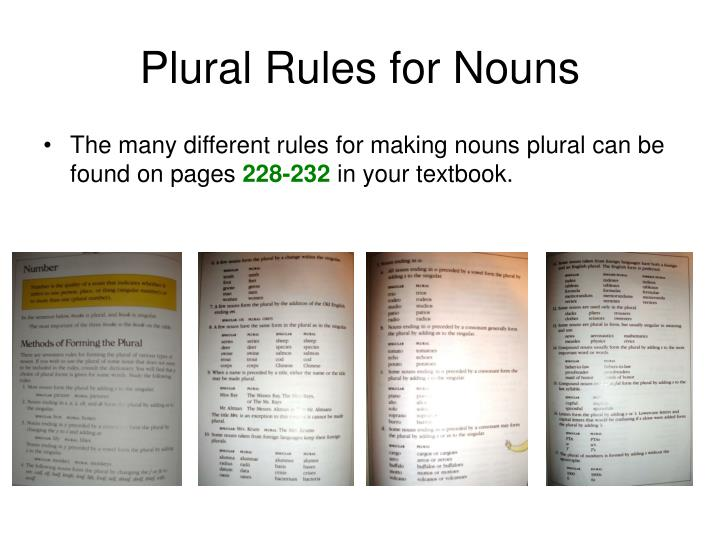 Plural Rules for Nouns