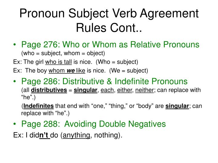 Pronoun Subject Verb Agreement Rules Cont..