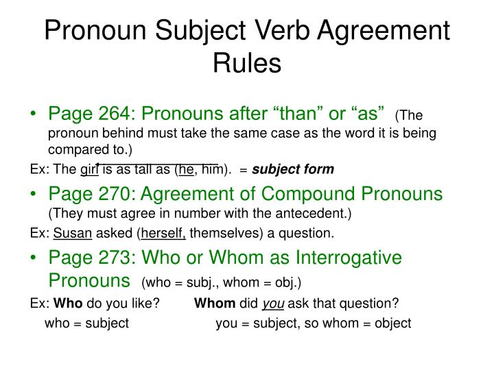 Pronoun Subject Verb Agreement Rules