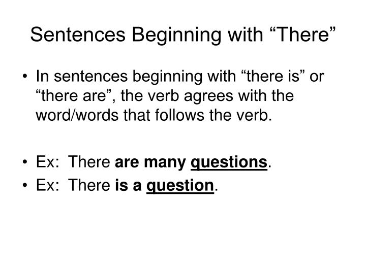 "Sentences Beginning with ""There"""