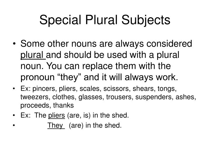 Special Plural Subjects