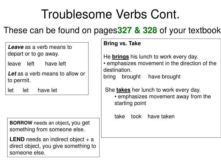 Troublesome Verbs Cont.