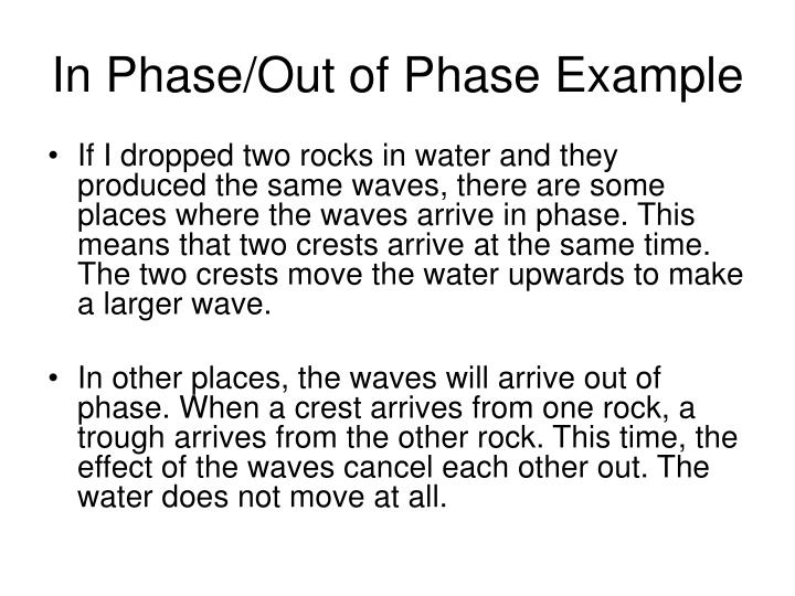 In Phase/Out of Phase Example