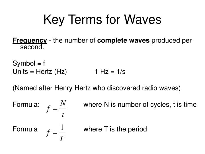 Key Terms for Waves