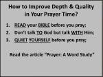 how to improve depth quality in your prayer time