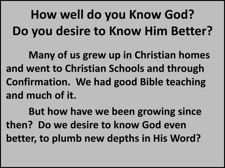 How well do you Know God?