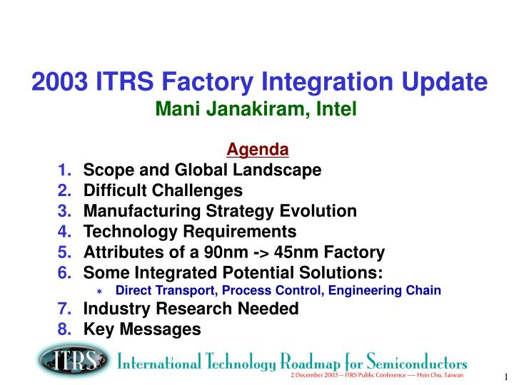 2003 ITRS Factory Integration Update