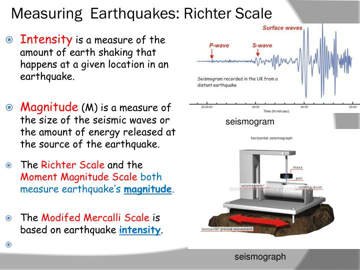 Measuring  Earthquakes: Richter Scale