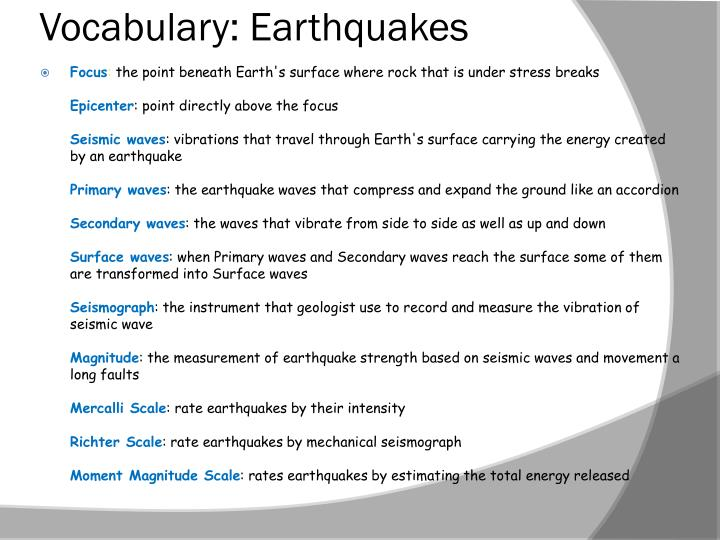 Vocabulary: Earthquakes