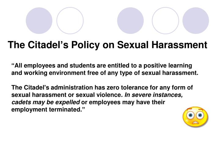 The citadel s policy on sexual harassment