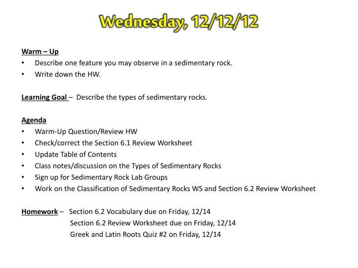 Wednesday, 12/12/12