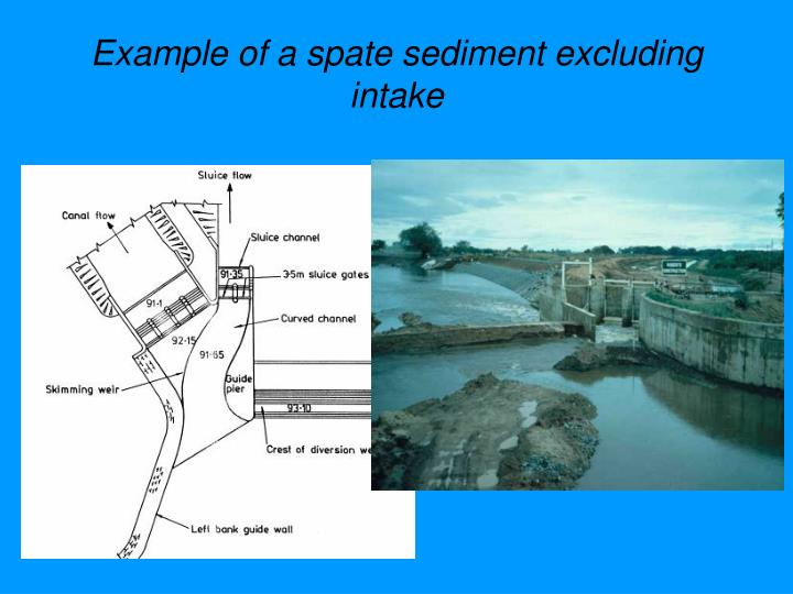 Example of a spate sediment excluding intake