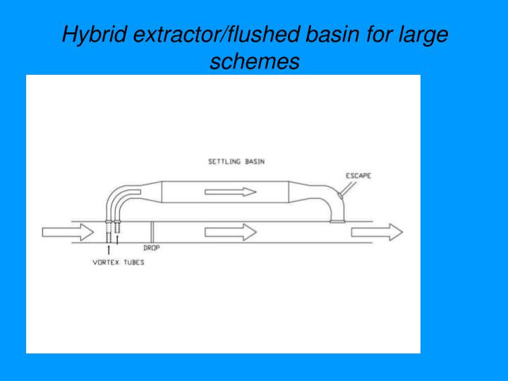 Hybrid extractor/flushed basin for large schemes
