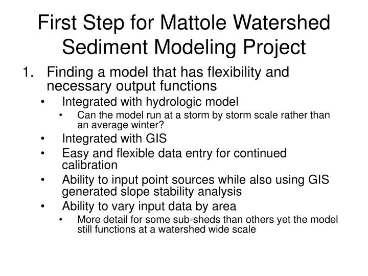 First Step for Mattole Watershed Sediment Modeling Project