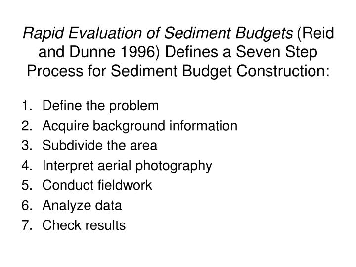 Rapid Evaluation of Sediment Budgets