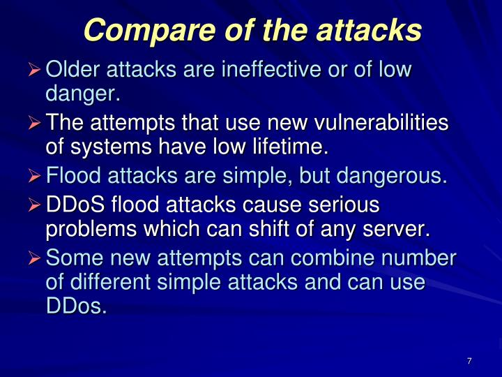 Compare of the attacks