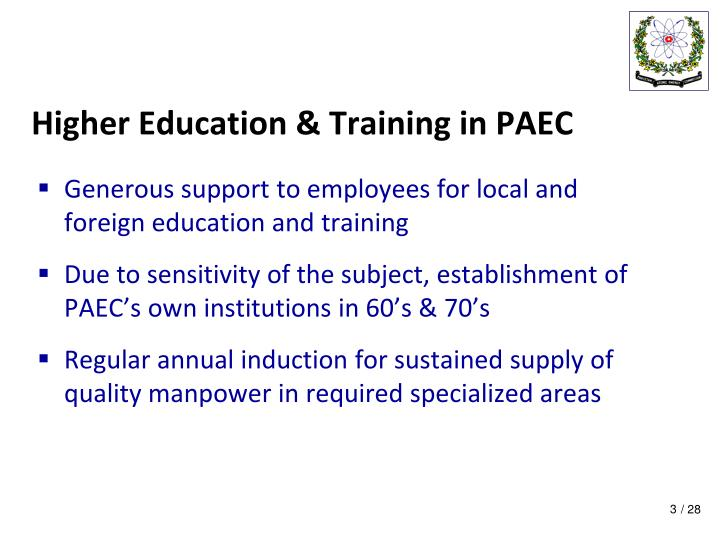 Higher education training in paec