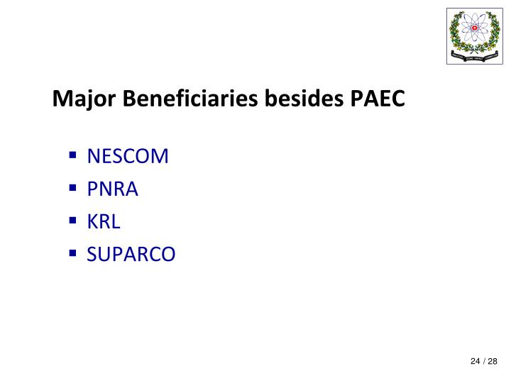 Major Beneficiaries besides PAEC