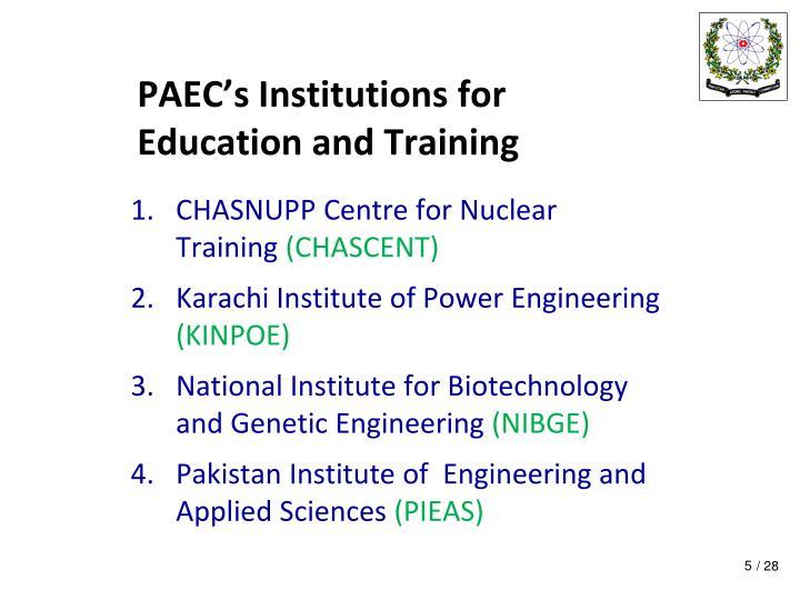 PAEC's Institutions