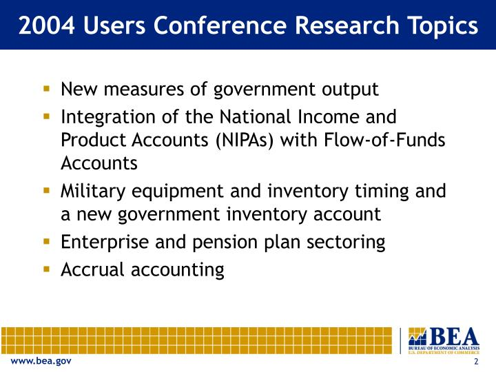 2004 users conference research topics