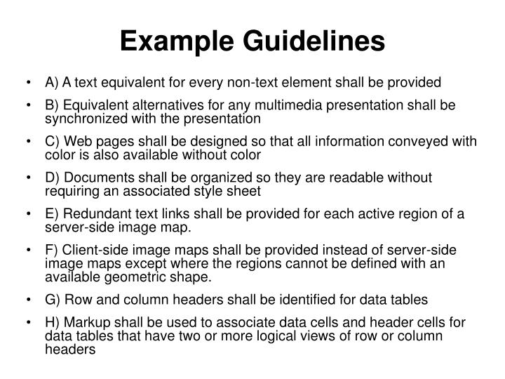 Example Guidelines