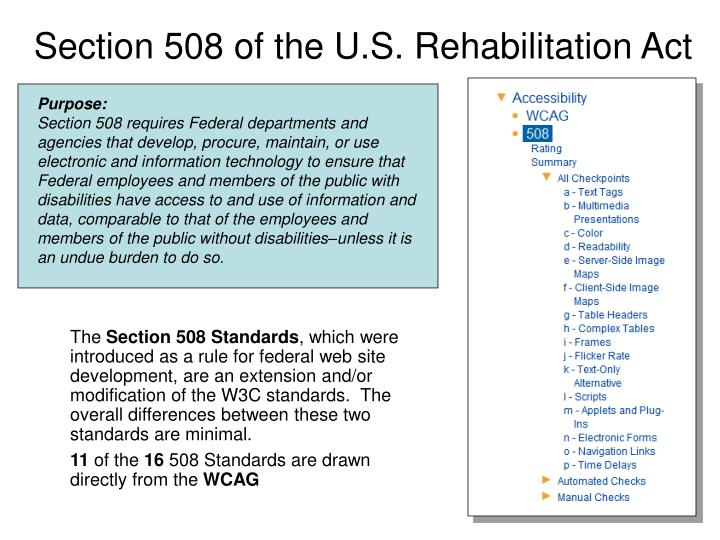 Section 508 of the U.S. Rehabilitation Act