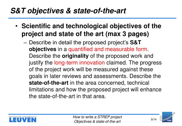 S&T objectives & state-of-the-art
